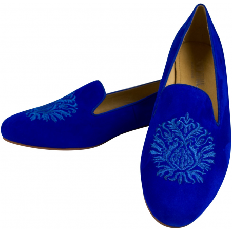 Embroidered Slippers Alessia Blue