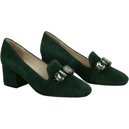 Embellished leather pumps Mariola in dark green