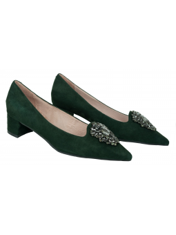 Crystal embellished leather pumps Ava in dark green