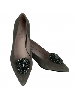 Crystal embellished leather pumps Ava in Grey