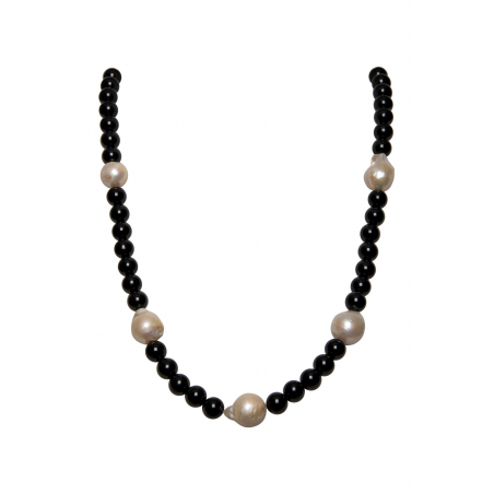 """Onyx and Baroque Pearl Necklace """" Marisa"""""""