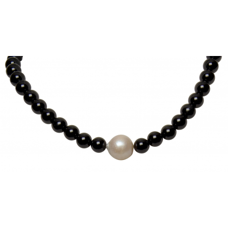"Onyx and Baroque Pearl Necklace "" Darja"""