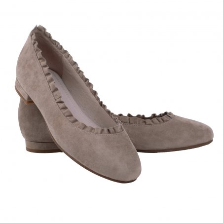 Suede Ballet Flats Taupe