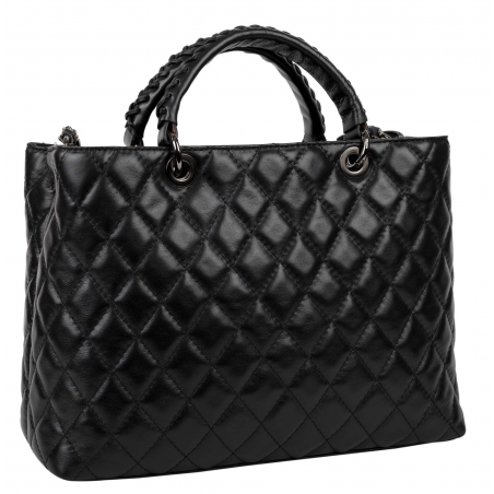 Quilted Tote Bag Louise Black