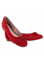 "Perforated leather ballet flats with studs ""Charlotta"" Red"