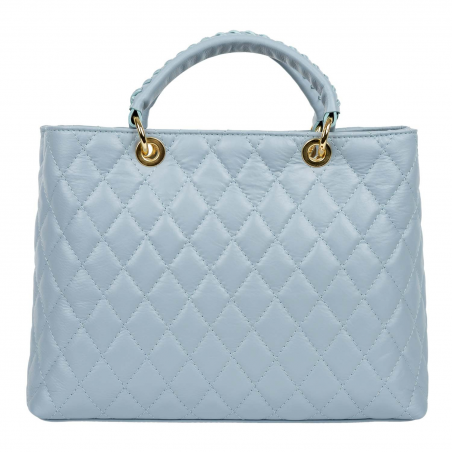 Quilted Tote Bag Louise Light Blue