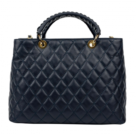 Quilted Tote Bag Louise Navy Blue