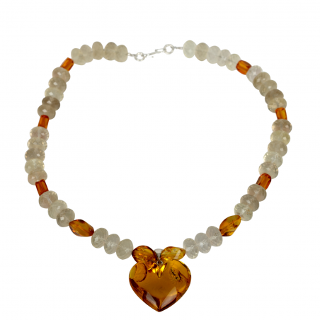 Amber Necklace Kendra with Heart Pendant
